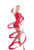 Adelgace al bailarín flexible del arte de la gimnasia rítmica de la mujer Fotografía de archivo libre de regalías