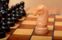 Adeln Sie auf Schachbrett mit Rest der Pfand Stockfotos