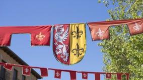 adeln Sie, mittelalterliche Wappen in einer traditionellen alten Kunstmesse Lizenzfreie Stockbilder