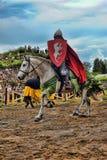 Adeln Sie Sturzhelm und Schild zu Pferd durch das Turnier Stockfotografie