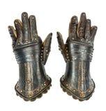 Adelt die alte mittelalterliche Vorlage der Handschuhe, die mit clippi lokalisiert wird Stockfotos