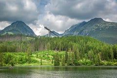 Adembenemend bergmeer in Strbske Pleso in Slowakije royalty-vrije stock afbeeldingen