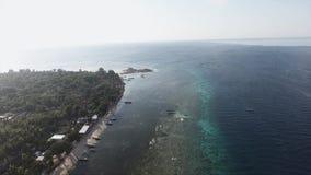Adembenemend landschap van eiland met palmen, leuke kustlijn en boten stock footage