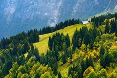 Adembenemende lansdcape van bergen, bossen en kleine Beierse dorpen in de afstand Toneelmening van Beierse Alpen met het meest ma Royalty-vrije Stock Foto