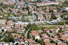 Adembenemende mening rond van de heuvels van San Marino royalty-vrije stock foto