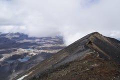 Adembenemende vulkanische landschapsmening vanaf de bovenkant van onderstel Ngauruhoe Één van de grote gangen in Nieuw Zeeland, h Royalty-vrije Stock Afbeeldingen