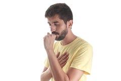 Ademhalingsziekte Het Hoesten van de jonge Mens Royalty-vrije Stock Foto's