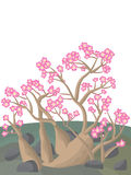 Adenium Desert Rose. Illustration of desert flowers adenium. Concept glamour at desert atmosphere. --- This .eps file info Version: Illustrator 8 EPS Document: 9 Stock Illustration