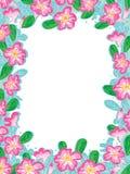 Adenium Frame. Illustration of adenium flowers leaves frame. --- This .eps file info Version: Illustrator 8 EPS Document: 9 * 12 Inches (Width * Height) Document stock illustration