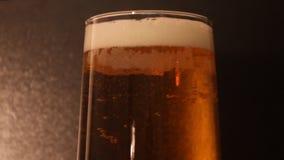 Adentro tiro detallado de cristal vertido cerveza almacen de metraje de vídeo