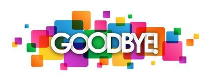 ADEUS! bandeira de sobreposição colorida dos quadrados Imagem de Stock Royalty Free