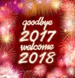Adeus 2017 boa vinda 2018 Foto de Stock Royalty Free