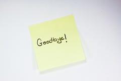 Adeus nota Imagens de Stock