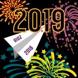 Adeus 2018, olá! 2019! ilustração stock
