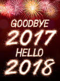 Adeus 2017 olá! 2018 Fotografia de Stock