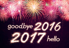 Adeus 2016 olá! 2017 Fotografia de Stock