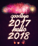 Adeus 2017 olá! 2018 Foto de Stock