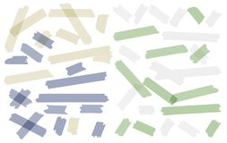 Adhésif coloré et blanc, collant, masquant, bandes de ruban adhésif pour le texte sur le fond blanc Illustration de vecteur Image libre de droits