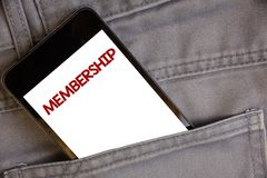 Adhésion d'écriture des textes d'écriture La signification de concept étant pièce de membre d'un groupe ou équipe joignent un org Photographie stock libre de droits