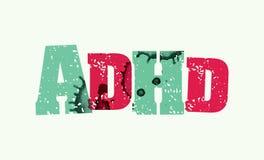 ADHD概念被盖印的词艺术例证 免版税库存图片