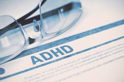 ADHD -打印的诊断 概念谎言医学货币集合听诊器 3d例证 免版税库存照片