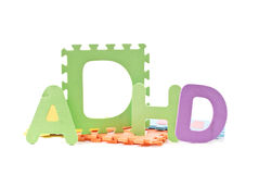 ADHD. Spelled Out with Foam Squares Royalty Free Stock Image