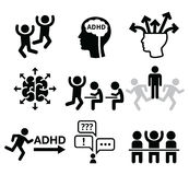 ADHD - Attention deficit hyperactivity disorder vector icons set Stock Photo