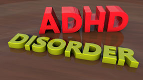 ADHD Disorder 3d text Royalty Free Stock Image