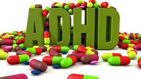 ADHD disorder 3d text. And medicines stock illustration