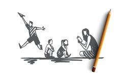 ADHD, jong geitje, tekort, aandacht, hyperactiviteitconcept Hand getrokken geïsoleerde vector stock illustratie