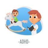 ADHD-läkarundersökningbegrepp också vektor för coreldrawillustration Arkivbilder