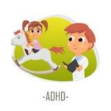 ADHD-läkarundersökningbegrepp också vektor för coreldrawillustration Arkivfoto