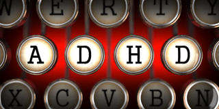 ADHD on Old Typewriter's Keys. Stock Photos