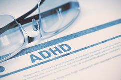 ADHD - Printed Diagnosis. Medicine Concept. 3D Illustration. Royalty Free Stock Photo