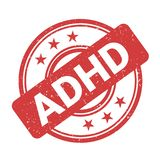 ADHD-stämpel - positiv bekräftelse och attestering av diagnosen stock illustrationer