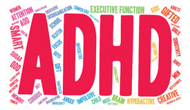 ADHD Word Cloud. ADHD multicolored word cloud on a white background Stock Photo