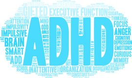 ADHD-Wort-Wolke Stockfotos