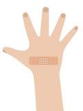 Adhesive bandage. On boy's hand Royalty Free Stock Images
