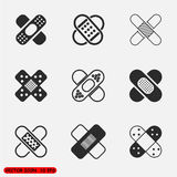 Adhesive bandage set. Medicine and Health Vector icons set Thin line outline Stock Photos