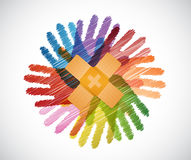 Adhesive Bandages over diversity hands circle. Illustration design concept Stock Photography