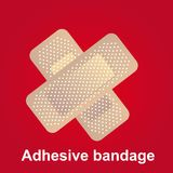 Adhesive bandge. In cross-shaped over red background vector Stock Images