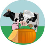 adhesive cow and cheese Royalty Free Stock Photography