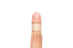 Adhesive Healing plaster on asian man finger Stock Images