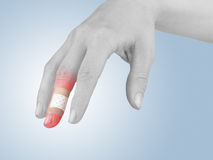 Adhesive Healing plaster on finger. Stock Photography