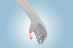 Adhesive Healing plaster on finger. Royalty Free Stock Photography