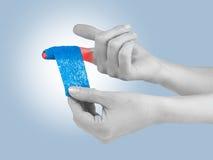 Adhesive Healing plaster on finger. Stock Photo