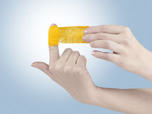 Adhesive Healing plaster on finger. Stock Images