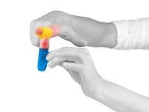 Adhesive Healing plaster on finger. Stock Photos