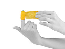 Adhesive Healing plaster on finger. Stock Photos