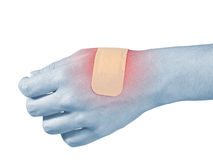 Adhesive Healing plaster on hend finger. Royalty Free Stock Photos